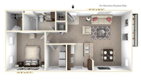 Floor Plan  The Diplomat - 1 BR 1 BA Floor Plan at Alexandria of Carmel Apartments, Carmel