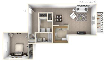 1-Bed/1-Bath, Malva Floor Plan at Portsmouth Apartments, Novi, MI