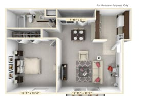 The Sunset -1 BR 1 BA Floor Plan at Scarborough Lake Apartments, Indianapolis