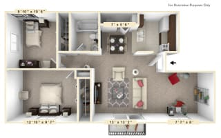 The Evergreen - 2 BR 1 BA with Den Floor Plan at Autumn Woods Apartments, Miamisburg, 45342