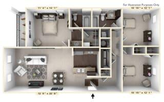 The Augusta - 3 BR 2 BA Floor Plan at Bella Vista Apartments, Fishers, Indiana