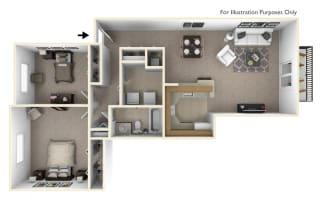 2-Bed/1-Bath, Petunia Floor Plan at Portsmouth Apartments, Novi, MI