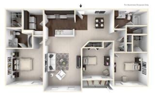 The Burgundy - 3 BR 2 BA Floor Plan at Bella Vista Apartments, Indiana, 46038