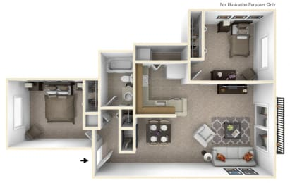 2-Bed/1-Bath, Sunflower Floor Plan at Southport Apartments, Michigan