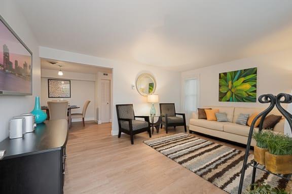 Living room at Williamsburg Estates in Harrisburg, PA