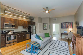 Gale Lofts Living Room and Kitchen