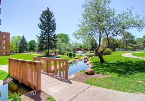 Pond View With Bridge at Monaco Lakes, Denver, 80222