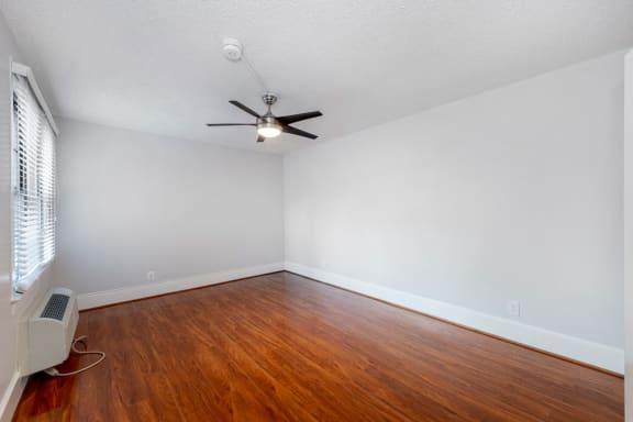 sunlit grey studio apartment bedroom at Connecticut Plaza Apartments, District of Columbia, 20008