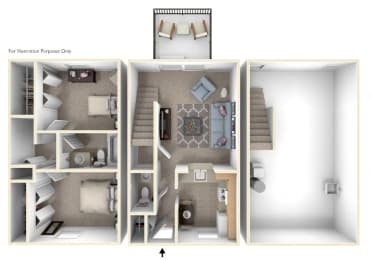 Two-Bedroom Townhome Floor Plan at Mount Royal Townhomes, Michigan