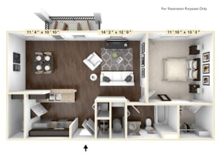 The Tuscany - 1 BR 1 BA Floor Plan at Bella Vista Apartments, Fishers, IN