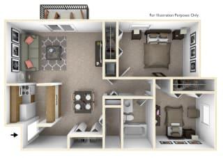 2-Bed/1-Bath, Iris View Floor Plan at Beacon Hill Apartments, Rockford, Illinois