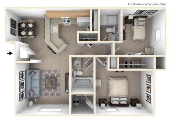Floor Plan  2 Bed 2 Bath Two Bedroom, One & One-half Bath Seville Floor Plan at South Bridge Apartments, Fort Wayne, IN, 46816