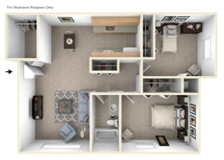 Two Bedroom Floor Plan at Seville Apartments, Michigan