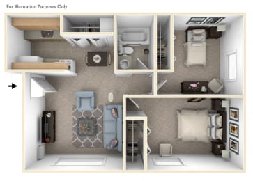 Two Bedroom One Bath Floor Plan at Wingate Apartments, Kentwood, MI, 49512