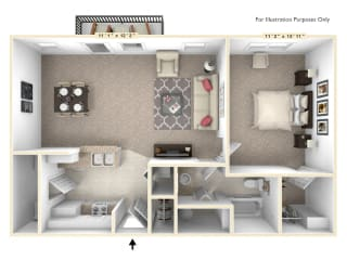 The Independence - 1 BR 1 BA Floor Plan at Alexandria of Carmel Apartments, Indiana