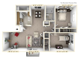 The Hawthorne - 2 BR 1 BA with Den Floor Plan at Autumn Woods Apartments, Miamisburg