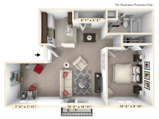 The Maple - 1 BR 1 BA with Den Floor Plan at Autumn Woods Apartments, Miamisburg, OH, 45342