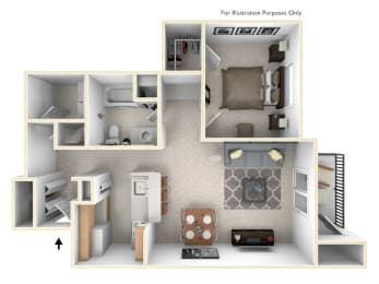 1-Bed/1-Bath, Lawrence Floor Plan at Towne Lakes Apartments, Grand Chute