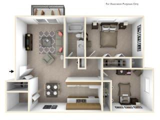 2-Bed/1-Bath, Dahlia Floor Plan at Beacon Hill Apartments, Rockford, IL