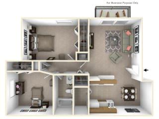 2-Bed/1-Bath, Iris Floor Plan at Beacon Hill Apartments, Illinois, 61109
