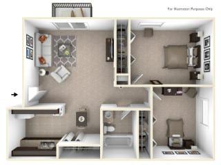 2-Bed/1-Bath, Marigold Floor Plan at Eastgate Woods Apartments, Ohio