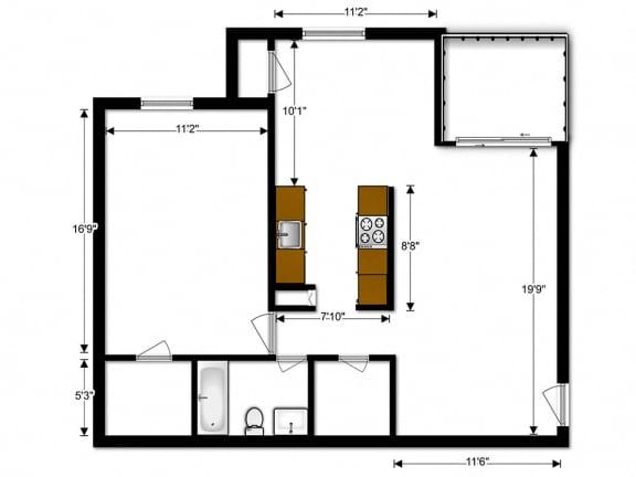 Floor Plan  Oakton Park Apartments One Bedroom Floor Plan A