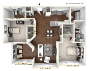 The Rodeo - 2 BR 2 BA Floor Plan at The Avenue at Polaris Apartments, Columbus, Ohio