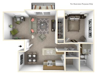 1-Bed/1-Bath, Bluebell Deluxe Floor Plan at Beacon Hill Apartments, Rockford