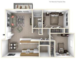 2-Bed/1-Bath, Daffodil Floor Plan at Beacon Hill Apartments, Rockford, IL, 61109