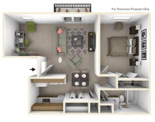 1-Bed/1-Bath, Primrose Deluxe Floor Plan at Beacon Hill Apartments, Rockford, IL, 61109