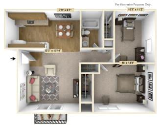 Acorn 2 Bedroom Floor Plan at Charter Oaks Apartments, Davison, 48423