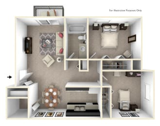 2-Bed/1-Bath, Dahlia Floor Plan at Cordoba Apartments, Michigan, 48334