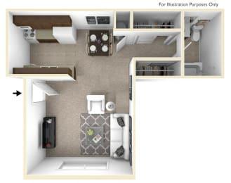 Studio, Lunaria Floor Plan at Fox Pointe Apartments, Illinois