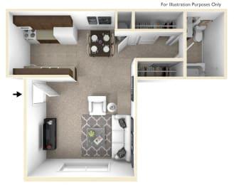 Studio, Lunaria Floor Plan at Sycamore Creek Apartments, Orion, MI, 48359