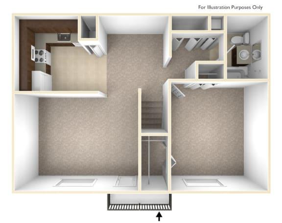 Floor Plan  Premier 1 bedroom at Williamsburg Estates in Harrisburg, PA