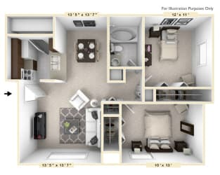The Cove - 2 BR 1 BA Floor Plan at Bay Pointe Apartments, Indiana, 47909