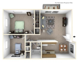 2 Bed 1 Bath 2-Bed/1-Bath, Delphinium Floor Plan at Timberbrook Apartments, Peoria, 61614
