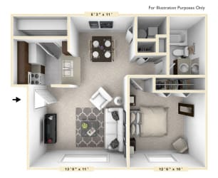 The Cape - 1 BR 1 BA Floor Plan at Bay Pointe Apartments, Indiana