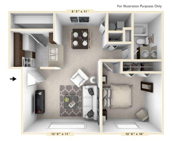 Floor Plan  The Cape - 1 BR 1 BA Floor Plan at Bay Pointe Apartments, Indiana