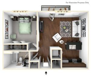The Justice - 1 BR 1 BA Floor Plan at Alexandria of Carmel Apartments, Carmel, IN, 46032