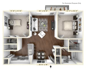 The Meridian - 2 BR 1 BA Floor Plan at The Avenue at Polaris Apartments, Columbus, OH