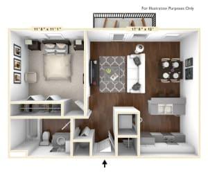 The Park - 1 BR 1 BA Floor Plan at The Avenue at Polaris Apartments, Ohio, 43240