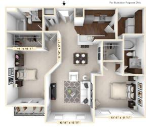 The Sunset - 2 BR 2 BA Floor Plan at The Avenue at Polaris Apartments, Columbus, 43240