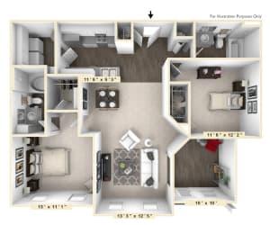 The Castello - 2 BR 2 BA Floor Plan at Bella Vista Apartments, Fishers