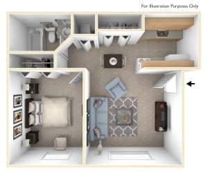 Standard One Bedroom Floor Plan at Apple Ridge Apartments, Walker, Michigan