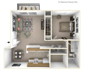 1-Bed/1-Bath, Bluebell Floor Plan at Beacon Hill Apartments, Rockford