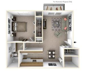 1-Bed/1-Bath, Magnolia Floor Plan at Beacon Hill Apartments, Rockford, Illinois