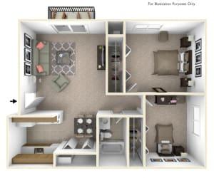 2-Bed/1-Bath, Marigold Floor Plan at Beacon Hill Apartments, Illinois