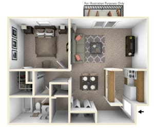 1-Bed/1-Bath, Orchid View Floor Plan at Beacon Hill Apartments, Rockford