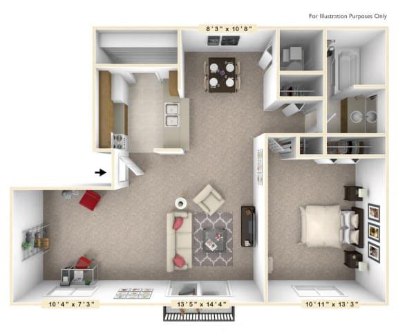 Floor Plan  The Willow - 1 BR 1 BA with Den Floor Plan at Autumn Woods Apartments, Miamisburg